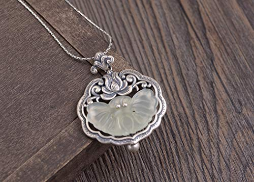 - Vintage Hetian Jade Pendant Necklace For Women, Butterfly Floral Pendant, 925 Sterling Silver Necklace For Women, Jade Necklace For Women