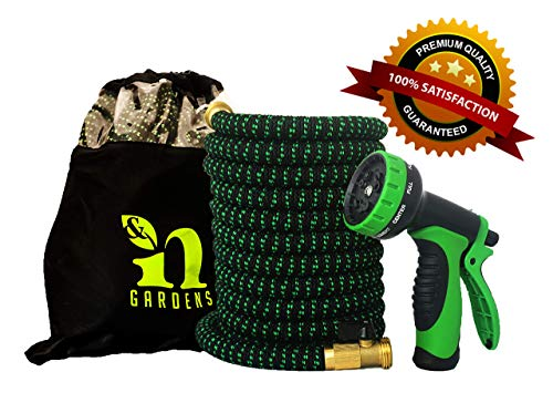 """I&N 100 FT Expandable Garden Hose (Black & Green) with Newest 10-Pattern Spray Gun, 3/4"""" Solid Brass Fittings, 100% Natural Latex for Non-Kink, Non-Leak Heavy-Duty Retractable Hoses"""