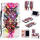 NOMO iPhone 8 Plus Case,iPhone 7 Plus Wallet Case,iPhone 6S Plus Case,iPhone 6 Plus,Folio Flip PU Leather Pattern Case Card Slots Kickstand Case for iPhone 7 Plus/8 Plus/6 Plus/6S Plus,Colorful Owl