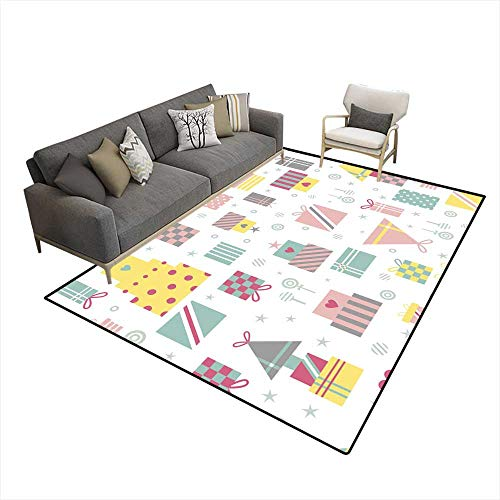 Rug Seamless Pattern with Gifts in Pastel Colors ()