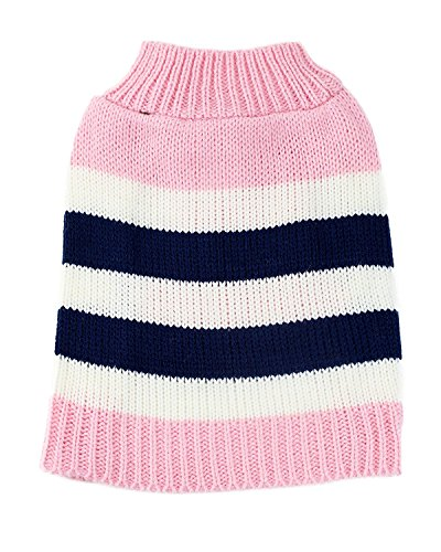 Pink Striped Dog Sweater (Pink Striped Colorblock Dog Sweater by Midlee (X-Large))