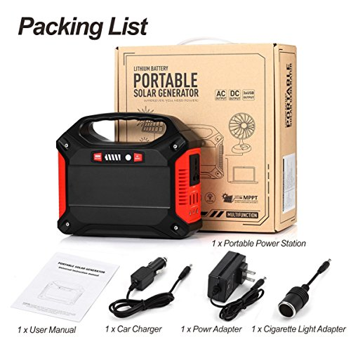 Portable Generator Power Inverter 42000mAh 155Wh Rechargeable Battery Pack Emergency Power Supply for Outdoor Camping Home Charged by Solar Panel Wall Outlet Car with 110V AC Outlet 3 DC 12V USB Port by ISUNPOW (Image #7)