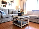 Large Square Reclaimed Wood Coffee Table Rustic Handcrafted Reclaimed Square Coffee Table - Self Assembly - Natural & White - 30x30x18