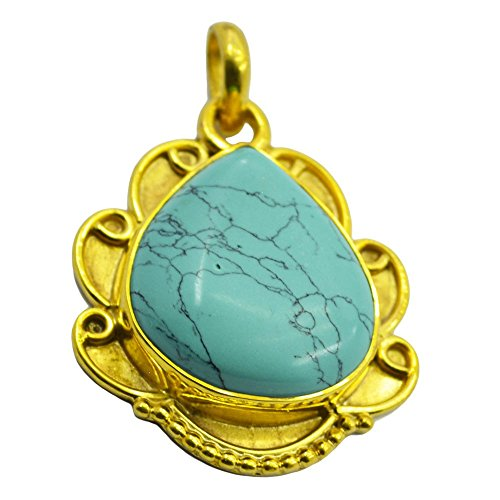 Jewelryonclick Genuine Turquoise Pendant Yellow Gold Plated Charms Gifts for Women Bezel Style ()