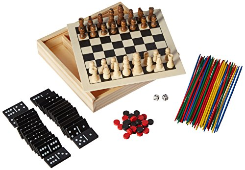 5-in-1 Mini Wood Chess Game