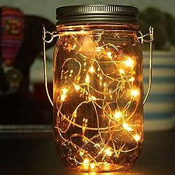 LtrottedJ Solar Mason Jar Lid Insert LED Mason Jar Solar Light For Glass Mason Home Decor