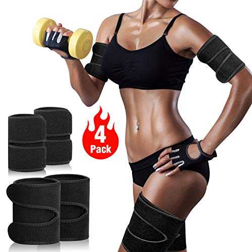 TOBWOLF 4 Pack Arm Thigh Trimmer Fat Burn for Weight Loss, Adjustable Unisex Neoprene Compress Belt Arm Leg Shaper Sleeves Sauna Sweat Wraps, Calories Off Reduce Cellulit