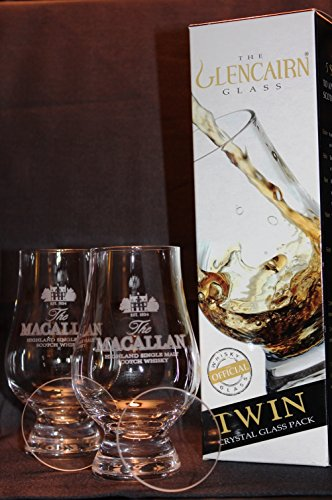 MACALLAN TWIN PACK GLENCAIRN SCOTCH MALT WHISKY TASTING GLASSES WITH TWO WATCH GLASS COVERS by Glencairn