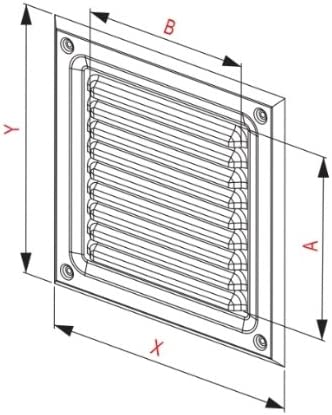 L/üftungsgitter 247 x 247 mm Schlitz-Gitter Abluftgitter Lamellengitter Insektenschutz Edelstahl