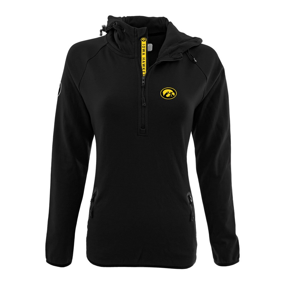 NCAA Women 's Faint Insignia太字Quarter Zipミッドレイヤーシャツ B074QSXPW8 Small|ブラック|Iowa Hawkeyes ブラック Small