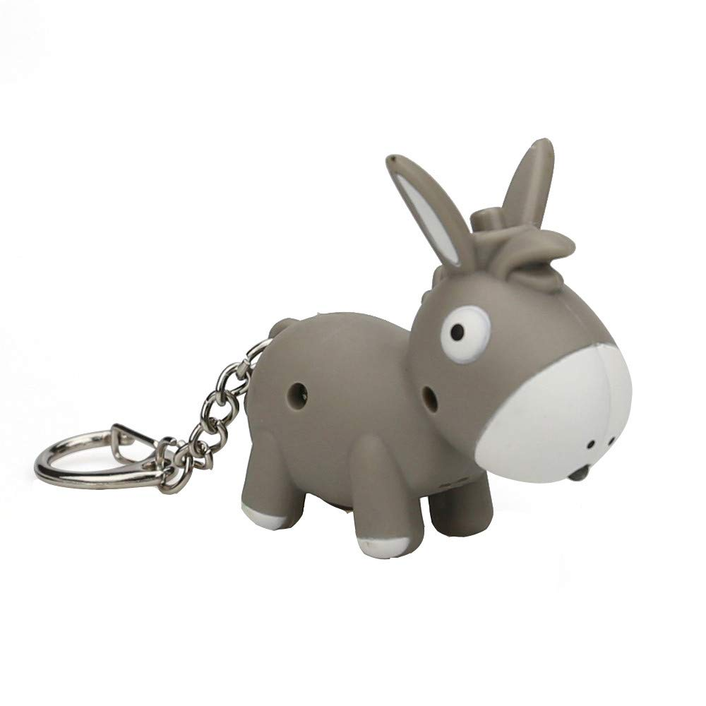 Emerayo Cute Animal Keychain Flashlight Kids Toy Gift with LED Light and Sound Keyfob (Gray Donkey, One)