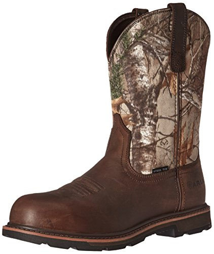 Ariat Work Men's Groundbreaker Pull-On Steel Toe Work Boot, Brown/Real Tree Extra, 7 D US by Ariat
