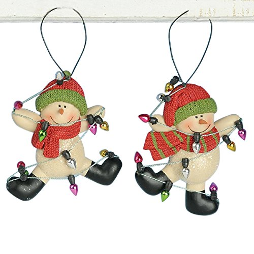 Set of 2 Dancing Snowmen Wrapped in Christmas Decorations Hanging Ornaments, 3 Inch