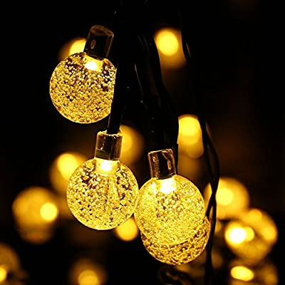 WERTIOO Solar String Lights 45ft 80 LEDs, Outdoor Solar Power Globe Lights Waterproof Crystal Ball Lighting for Patio, Lawn, Garden, Wedding, Party, Christmas Decorations