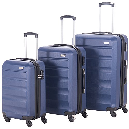 Pianeta Expandable Spinner Luggage Sets Lightweight HardShell Suitcase Set 3pcs 20inch Carry On 24 inch 28inch (NAVY) by PIANETA