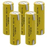 5x Exell A Size 1.2V 1400mAh NiCD Rechargeable Batteries with Tabs for medical instruments/equipment, electric razors, toothbrushes, radio controlled devices, electric tools