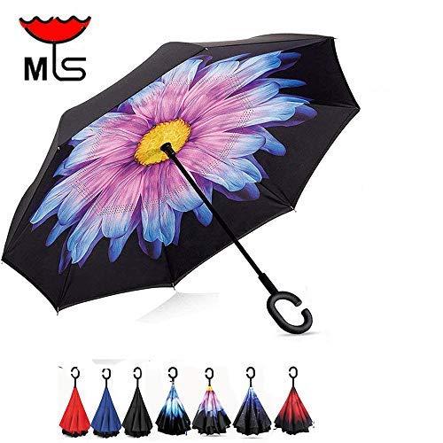 Double Layer Inverted Umbrella Windproof UV Protection Reverse folding Cars Reversible Umbrella by MY'S (Glazed (Best California Umbrella Cnas)