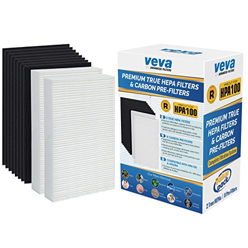 VEVA Complete Premium 2 True HEPA Replacement Filter Pack Including 8 Activated Carbon Pre Filters Precut for HPA100 Compatible with Honeywell Air Purifier 090, 094, 100, 104, 105, HA106 & Filter R