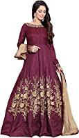 Aryan Fashion Women's Silk Semi-Stitched Anarkali Salwar Suit Set (Magenta, ER---EA10621)
