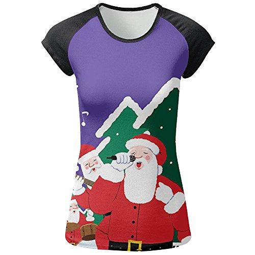 Christmas Chorus Women's Full Printing Short Sleeved Casual Round Neck T-shirt Tee