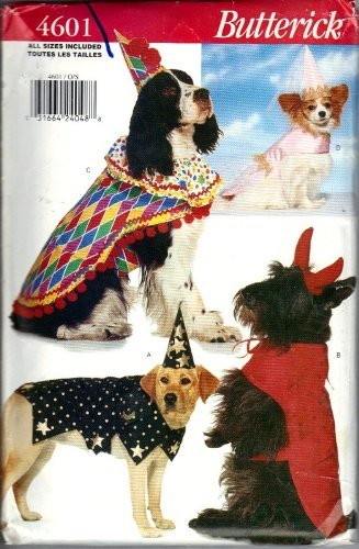 Butterick Sewing Pattern 4601 - Use to Make - Costumes for Dogs (Clown Costume Patterns)