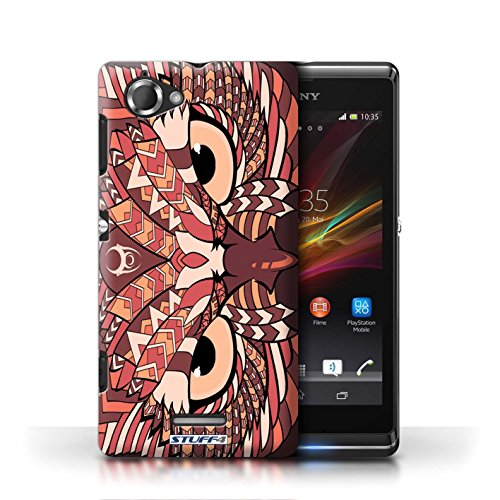 Etui / Coque pour Sony Xperia L/C2105 / Hibou-Rouge conception / Collection de Motif Animaux Aztec
