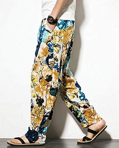 Des Floraux Poches Hommes Bloomers Pantalons Loose Occasionnelles Full Sarouel Gelb Imprimés Avec Classique Aladdin Garçons Pour xUvBCBw