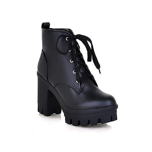 Las Mujeres De Moda Botines De Encaje Zapatos De TacóN Alto Plataforma De Las SeñOras: Amazon.es: Zapatos y complementos