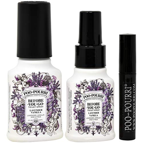Poo-Pourri Lavender Vanilla 1.4-Ounce Bottle, Lavender Vanilla 2-Ounce Bottle and Travel Size Disposable Spritzer by Poo-Pourri