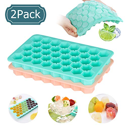 Whiskey Ice Cube Trays, Adoric FDA Approval Silicone Ice Cube Molds 2 Pack with Easy Release 38 Cubes Each BPA Free for Chilling Bourbon Whiskey, Cocktail, Beverages and More
