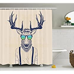 Antlers Decor Shower Curtain by Ambesonne, Illustration of Deer Dressed Up Like Cool Hipster Fashion Creative Fun Animal Art Print, Polyester Fabric Bathroom Shower Curtain Set with Hooks, Beige Black
