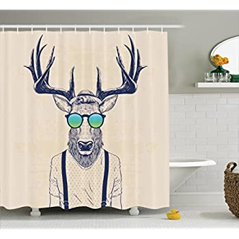 Antlers Decor Shower Curtain By Ambesonne Illustration Of Deer Dressed Up Like Cool Hipster Fashion Creative Fun Animal Art Print Polyester Fabric