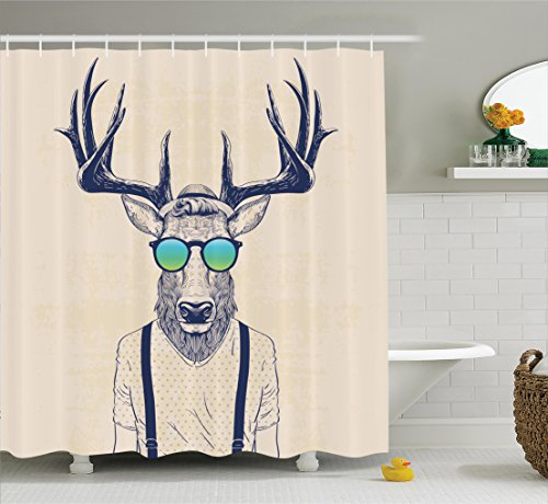 Ambesonne Antlers Decor Shower Curtain Set, Illustration of Deer Dressed Up Like Cool Hipster Fashion Creative Fun Animal Art Print, Bathroom Accessories, 75 Inches Long, Beige Black For Sale