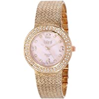 Burgi Women's BUR097RG Crystal Accented Rose Gold Swiss Quartz Watch with Pink Mother of Pearl Dial and Rose Gold Bracelet