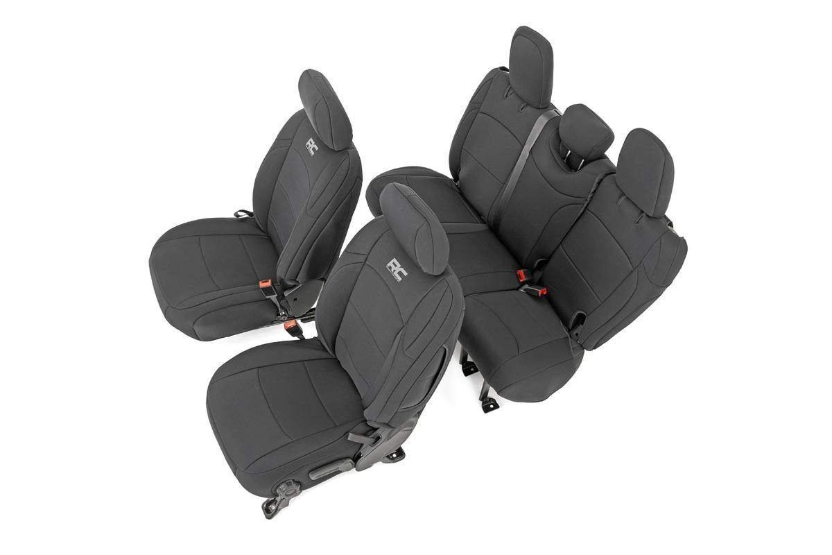 Rough Country Neoprene Seat Covers Sets Black (fits) 2018-2019 Jeep Wrangler JL 4DR 91010 Neoprene Seat Cover Set Black