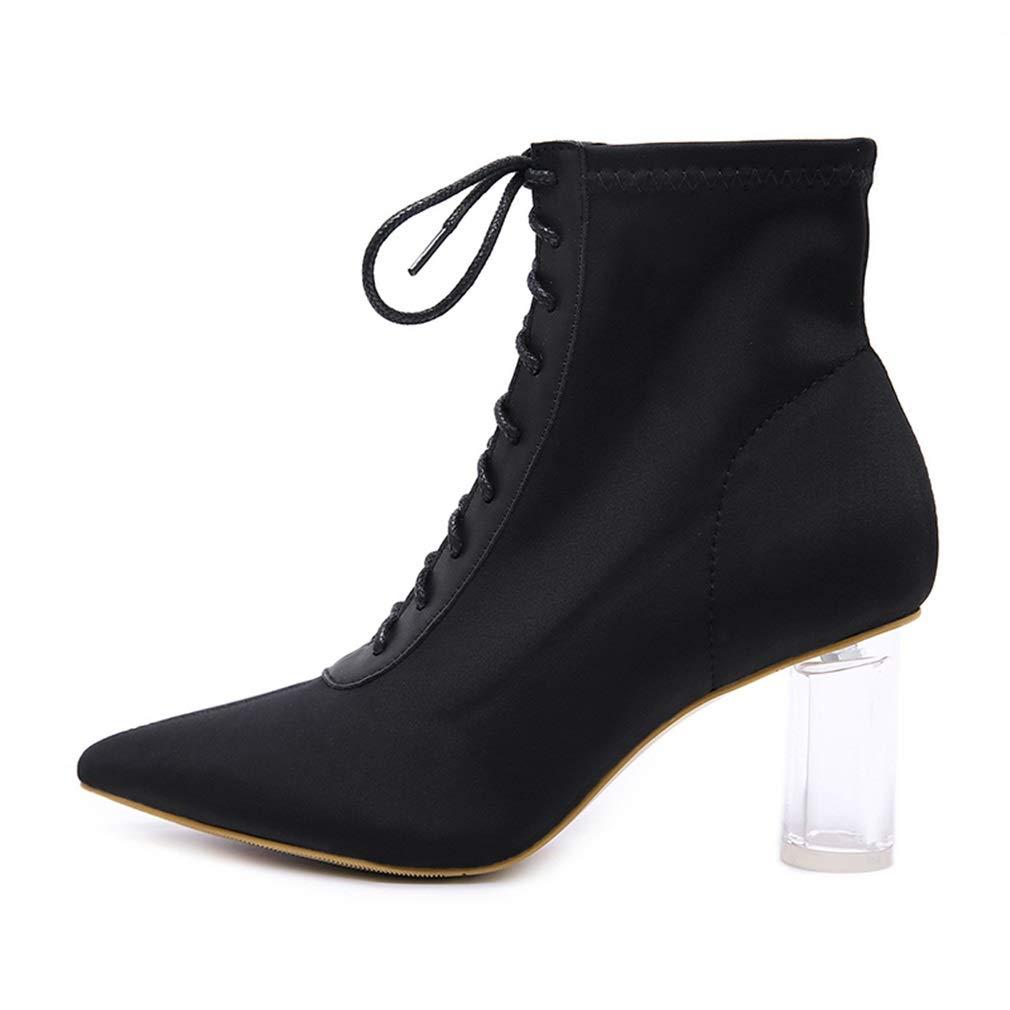 YAN damen Ankle Stiefel Herbst Spitzen Damen Stiefel Dicke Ferse Nähte Stiefel Sexy Mode Stiefel