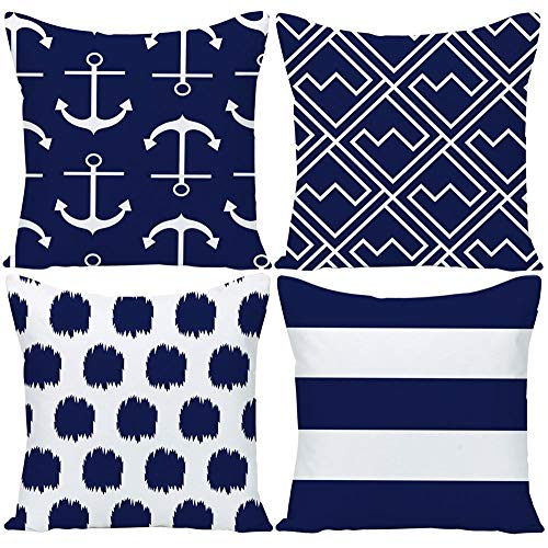 Wilproo Navy Blue Nautical Anchors Throw Pillow Covers 18 x 18 Inch Set of 4, GUHOO Geometric Blue Dots Cushion Cover Square Pillowcase Cotton Linen Outdoor for Sofa Couch Patio Home Decor (Pillows Throw Navy Nautical)