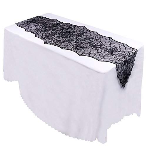Seven One Halloween Decorations Props 10pcs Black Leaf Lace Tablecloth Horror Table Runners for Home Table Decoration Accessories
