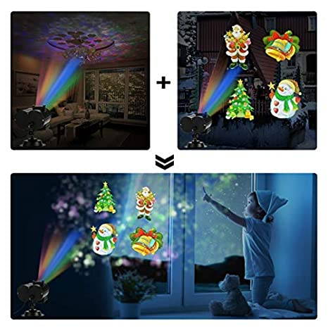 Waterproof Outdoor Indoor Landscape for Theme Party Yard Garden Decor Christmas Decoration Projector Lights Ocean Wave LED Night Light with 12 Slides 10 Colors Patterns Holiday Light Projector
