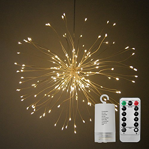 Alitoo String Light,Battery Operated Hanging Starburst Light 120 LED,Fairy Twinkle Lights 8 Modes Dimmable with Remote Control,Decoration for Outdoor Home Patio Wedding Party(Warm White (Lights Operated Hanging Battery)