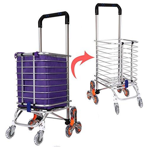 GoodKE Small Aluminum Alloy Stair Climbing Shopping Cart, Folding Swivel Wheel Grocery Laundry Cart, Portable Climbing Trolley Luggage Cart 177 Large Capacity Supermarket Shopping Cart (Blue 3)