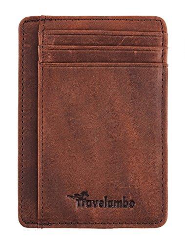 Travelambo Front Pocket Minimalist Leather Slim Wallet RFID Blocking Medium Size(crazy horse deep brown)