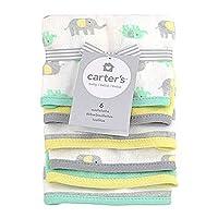 Carters 6 pk Washcloth - Elephant Gray