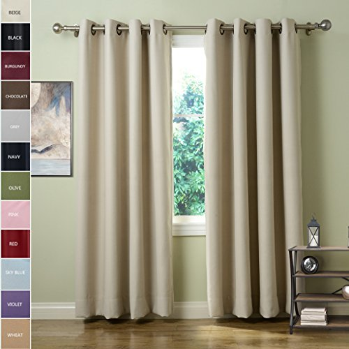 chadmade solid thermal insulated blackout curtains drapes antique bronze grommet eyelet beige 52w x 63l inch set of 2 panels