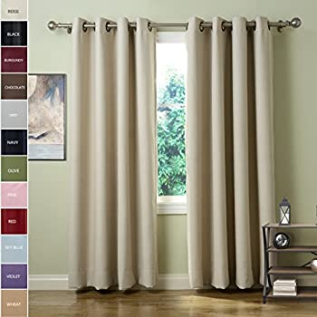 ChadMade Solid Thermal Insulated Blackout Curtains Drapes Antique Bronze  Grommet / Eyelet Beige 52W X 72L