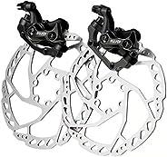 RUJOI Bike Disc Brake Kit, Aluminum Front and Rear Caliper, 160mm Rotor, Mechanic Tool-Free Pad Adjuster for R