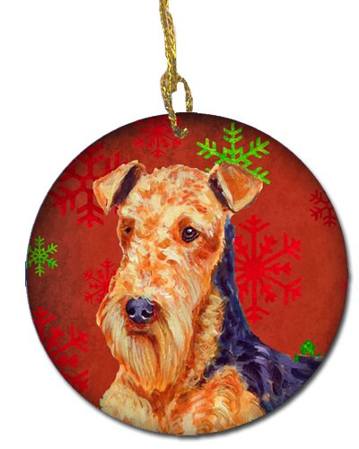 Caroline's Treasures LH9336-CO1 Airedale Red Snowflake Holiday Christmas Ceramic Ornament LH9336, 3 in, Multicolor
