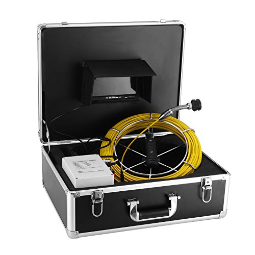 Anysun Underwater Drain Sewer Pipe 50 Meter Fiberglass Cable Pipeline Inspection Monitor for Pipe Wall Inspection with 7 Inch LCD Monitor 1000TVL Sony CCD DVR Recorder Video Snake Camera (Camera Dvr A/v Recorder)