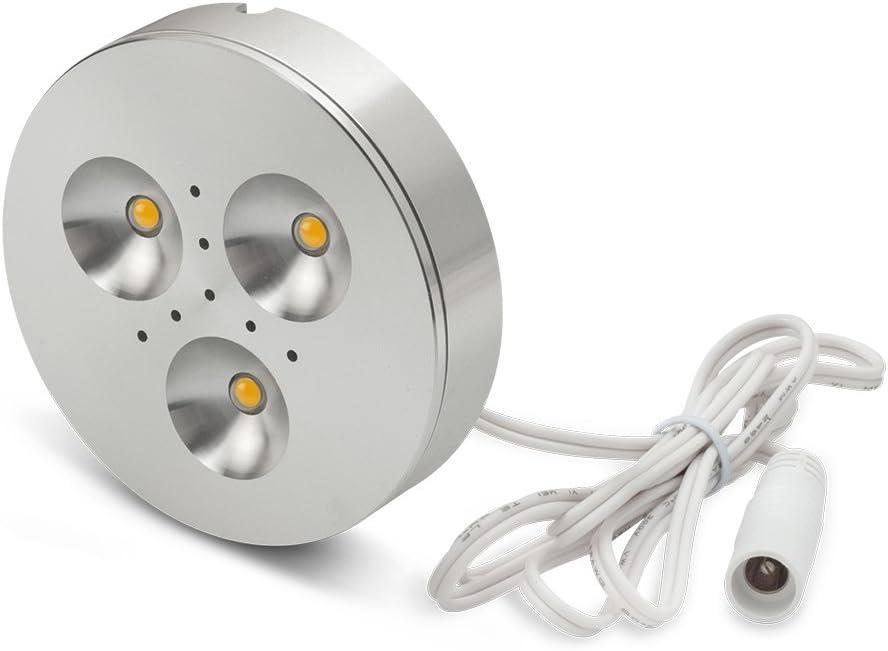 LEDQuant Set of 3 LED Dimmable Under Cabinet Lighting Kit – 3Watt LED Puck Lights, Warm White