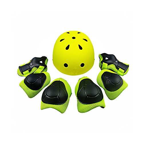 Review Kiwivalley Kids Boys and Girls Outdoor Sports Protective Gear Safety Pads Set [Helmet Knee Elbow Wrist] for Scooter, Skateboard, Bicycle, Rollerblades (4-14 Years Old) (green)